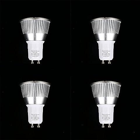 Saint Mossi GU10 LED Bulbs, 50W Halogen Bulbs Equivalent, 3W, 200lm, 120° Beam Angle, 6000K Daylight White, MR16, LED Light Bulbs, Pack of 4 - 6.5k Metal