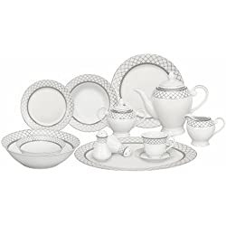 Lorren Home Trends 57-Piece Porcelain Dinnerware Set, Verona, Service for 8