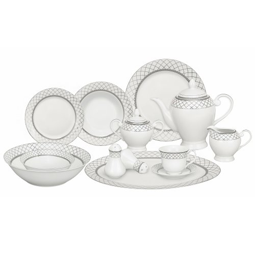(Lorren Home Trends 57-Piece Porcelain Dinnerware Set, Verona, Service for 8)