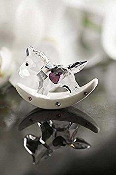Crystal Rocking Horse Figurine - Swarovski Rocking Horse, Crystal and Pink