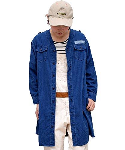 活性化する差し引く慎重オールドベティーズ(OLD BETTY'S) Indigo Cloth No-Collar Long Shirts 長袖シャツ 長袖 シャツ レディース ミリタリー インディゴ