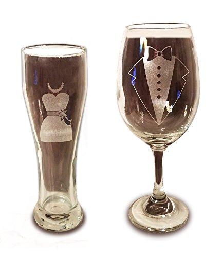 Laser Engraved Bride and Groom Glasses - 20 oz Wine Glass and 15 oz Beer Pilsner Glass - Wedding Toasting Set of 2 - Couples Gifts - Engagement Gift - (Shark Glass Pilsner Glass)