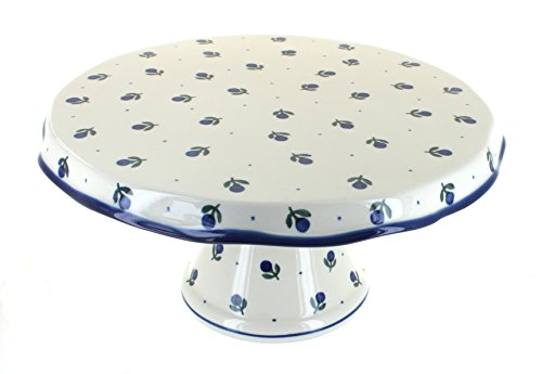 Polish Pottery Blueberry Cake Plate
