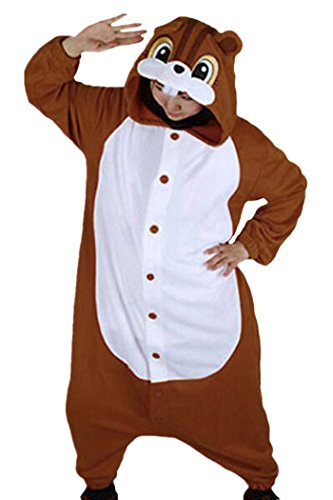 [Lifeye Unisex Squirrel Pajamas Adult Animal Cosplay Costume Brown] (Man In Squirrel Costume)