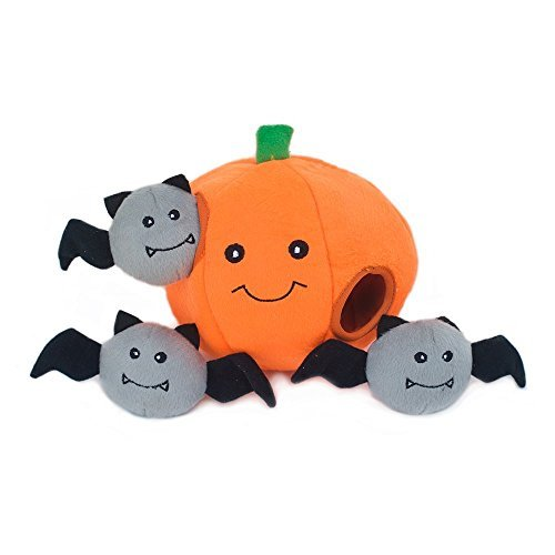 ZippyPaws Holiday Burrow, Interactive Squeaky Hide and Seek Plush Dog Toy - Pumpkin with Bats