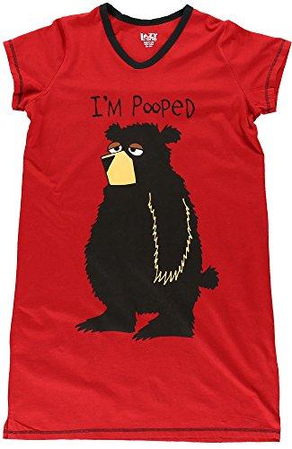 LazyOne Donna I'm Pooped Bear Camicia da Notte Collo V