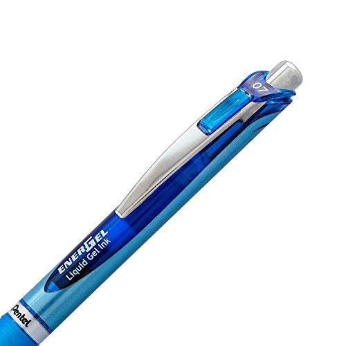 Pentel Gel Ink Pen, EnerGel RTX Retractable Gel Pen, Medium Point, Needle Tip, Blue Ink, Box of 12 (BLN77-C)