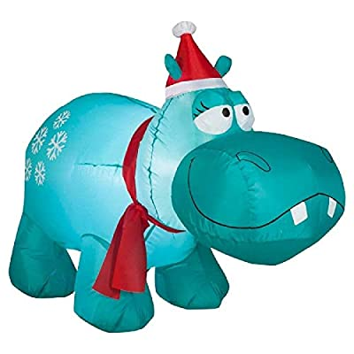 ghi Christmas Inflatable 3.5' Snowflake Hippo w/Santa Hat & Scarf Airblown Decoration