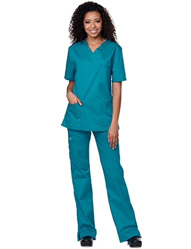 Cherokee Core Stretch Workwear Unisex V-Neck Solid Scrub Top Medium Red by Cherokee (Image #2)