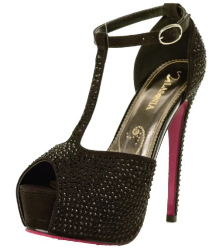 Buckle Closure T-strap Pumps (Lasonia T-strap Ankle Buckle Closure Peep Toe Open Shank Pumps Ls4862 Black or Red (6.5, Black))