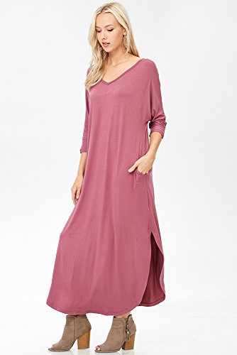 Neck Slit Maxi Annabelle Sleeve Dress Side V 3 with Pockets Oversize 4 Ginger Women's xwxqzR8tZ