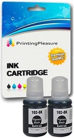 Printing Pleasure 102 C13T00Q140 Pack de 2 Botellas de Tinta para Epson EcoTank ET-2700 ET-2750 ET-3700 ET-3750 ET-4750: Amazon.es: Electrónica