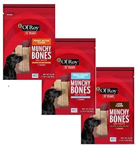 Mondoro Group Long Lasting Dog Treat Bone Chews Peanut Butter, Greek Yogurt and Liver Flavors, 21 Bully Sticks Total, Ol Roy Munchy Bones Bundle Bulk Variety Pack for Medium Large Dogs Puppies
