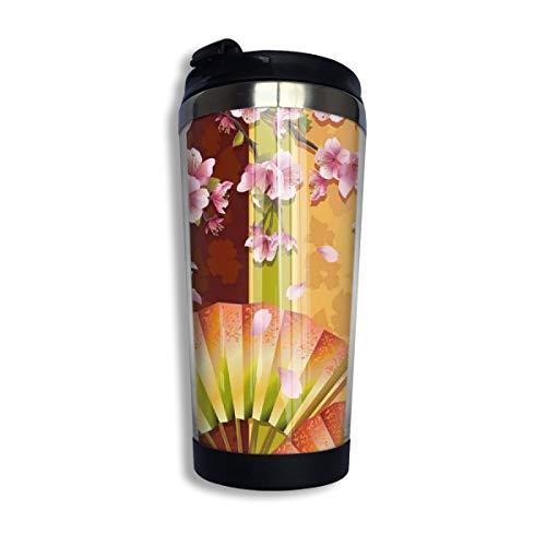 Kuyanasfk Japan Style Floral Sakura Blooms Japanese 13.5oz Coffee Mug Vacuum Insulated Stainless Steel Tumbler Cup for Men & Women Home Office Camping from Kuyanasfk