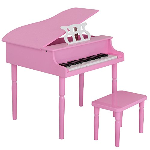 Toddler Baby Grand Piano - Smartxchoices Solid Wood Baby Grand Piano Toy for Kids Children with w/ Stool Bench, 30-key (Pink)