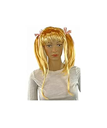 Sissy Dames Unisex Little Blonde Adult Wig Pigtails Pretty Ponytails Bows