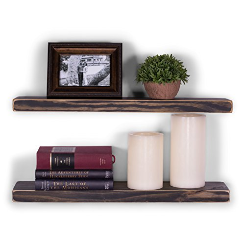 (DAKODA LOVE Wood Floating Shelves - Rustic Midnight Stain and Clear Coat Finish - 5.25