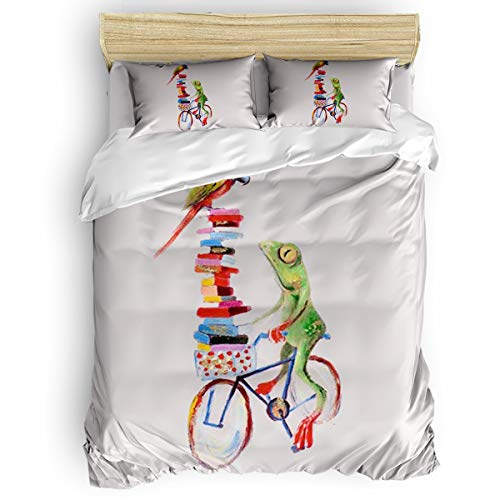 danhongi 4pcs Bed Sheet Set for Kids Girls Boys,Frogs Riding Bicycle with Parrots Funny Art Duvet Cover Set,Include 1 Comforter Cover 1 Bed Sheets 2 Pillow Cases Full Size