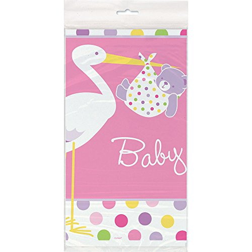 "Pink Stork Baby Shower Plastic Tablecloth, 84"" x 54"""
