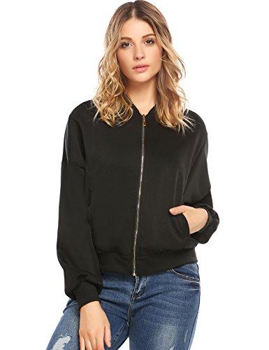 Womens Casual Raglan Sleeve Solid Zip Up Bomber Jacket Short Coat Outerwear (X-Large, Black) (Sleeve Raglan Jacket Bomber)