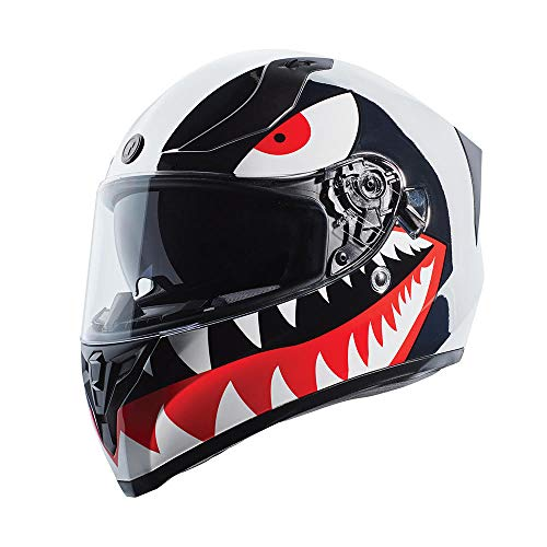 TORC T15 Full Face Motorcycle Helmet With Graphic (T15 Chrome Flying Tiger, Medium)