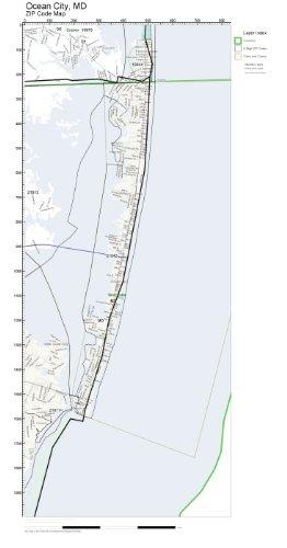 Amazon Com Zip Code Wall Map Of Ocean City Md Zip Code Map