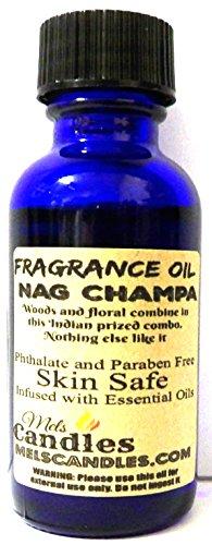 Nag Champa 1oz Blue Glass Bottle of Grade A Skin Safe Fragra