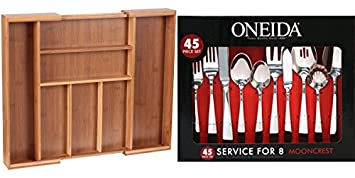 ad7debbfd65 Seville Classics Bamboo Expandable 7-Compartment (2 Adjustable) Flatware  Utensil Cutlery Drawer Tray