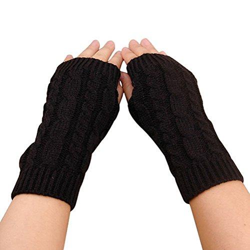 elegantstunning Fingerless Knitted Gloves with Thumb Hole Women Men Winter Fashion Solid Crochet