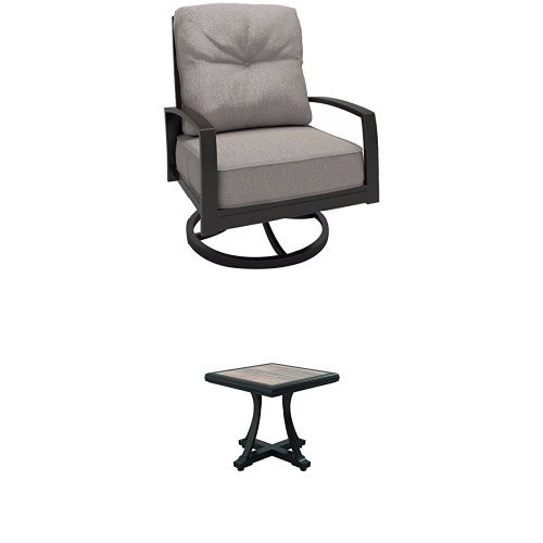 Ashley Furniture Signature Design - 3-Piece Outdoor Bistro Set - 2 Swivel Chairs with Cushions & Square End Table - Dark Brown (Clearance Cushions Chair High Back Patio)