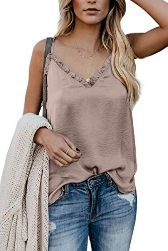 (Womens Cute Tank Tops Casual V Neck Fashion Plus Size Cami Tanks)