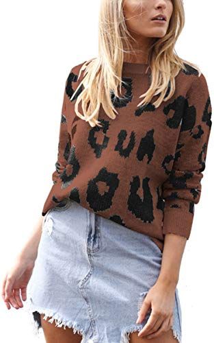 Angashion Women's Causal Long Sleeve Crew Neck Leopard Print Knitted Pullover Sweater Tops Coffee L