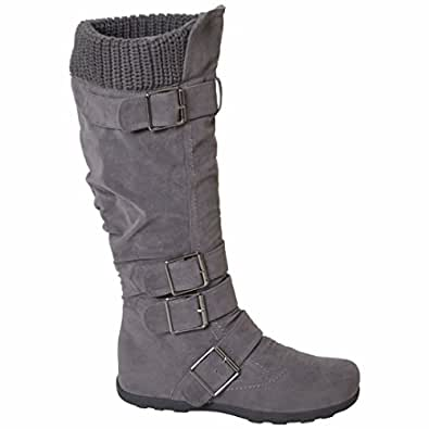 Womens Knee High Faux Suede Flat Winter Buckle Boots Gray , 5.5