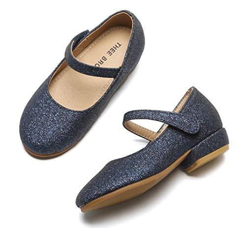 THEE BRON Toddler Little Girls Low Medium Heel Dress Flats Mary Jane Pump (11 M US Little Kid, Tb903 Navy) - Girls Ballet Pumps