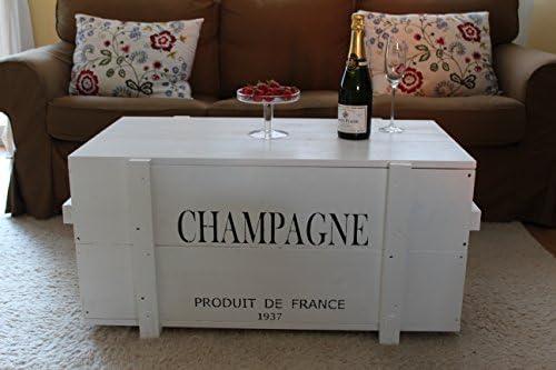 Kopen Uncle Joe agnos kist houten kist champagne, 98 x 55 x 46 cm, hout, wit, vintage, shabby chic salontafel, 98 x 55 x 46 cm  WzfADfv