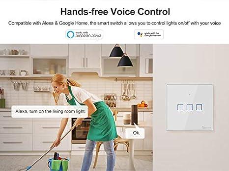 QIHONG Mini SONOFF WiFi 3 Gang Smart Switch, funciona con Alexa ...