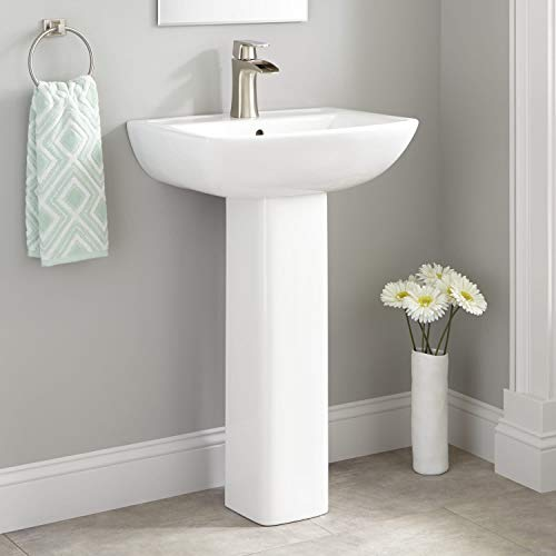 """Signature Hardware 424214 Kerr 22"""" Porcelain Pedestal Bathroom Sink with Single Faucet Hole and Overflow"""