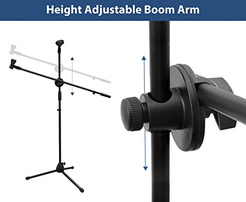Microphone Stand, Ohuhu Tripod Boom Mic Stands with 2 Mic Clip Holders, Adjustable, Collapsible, Black by Ohuhu (Image #4)