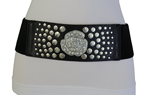 TFJ Women Elastic Fashion Belt Silver Metal Studs Flower Rose Bling Charm M L Black (Xs Las Vegas Halloween 2017)