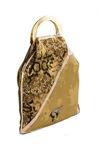 Pochette AC 326 Ghepardo, borsetta in pura seta con manici in metallo e stampa a fantasia