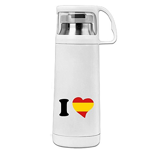 TYUEIDKTM I Love Spain Stainless Steel Water Cup Travel Coffee Mug For Sports Camping,Leak Proof Design,12 Oz,White by TYUEIDKTM