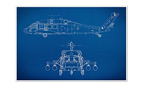 ArtsyCanvas Helicopter Gearhead Blueprint Art (24x16 Poster), 24