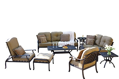 Darlee DL603-8PC-30RQALB Nassau Cast Aluminum 8-Piece Deep Seating Conversation Set with Cushions, End Tables and Coffee Table, Antique Bronze Finish (Deep Patio Aluminum Furniture Seating)