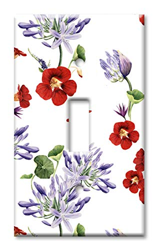 Art Plates 1 Gang Toggle Wall Plate - Red and Purple Flowers