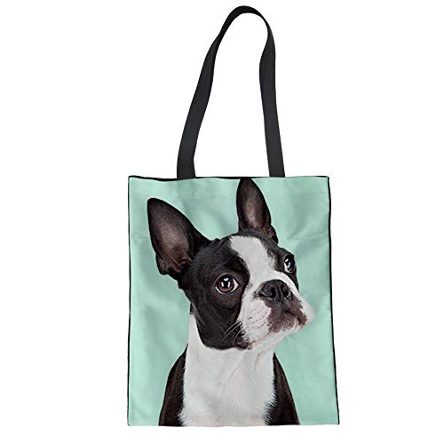 Showudesigns Satchel Boston Terrier Reusable Grocery Bags Canvas Linen Tote Bags Shopping