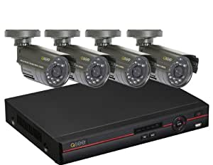 Q-See QC448-411-5 8 Channel Security Surveillance DVR System with 500 GB Hard Drive and 4 Weatherproof Color Cameras, Black