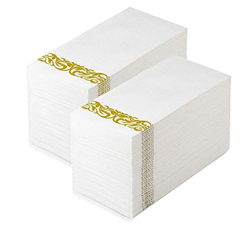(Guest Towels Hand Towels Disposable Linen Feel Cloth Like Airlaid Paper Dinner Napkins for Luncheon Dining Room Table Banquet Wedding Reception Party Events Nice Elegant Decorative Bulk Gold 50 Pack )