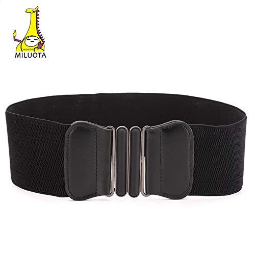 MILUOTA Women's Fashion Elastic Compass Wide Bow Buckle Stretch Waist Elastic Extender Belt Length MU239