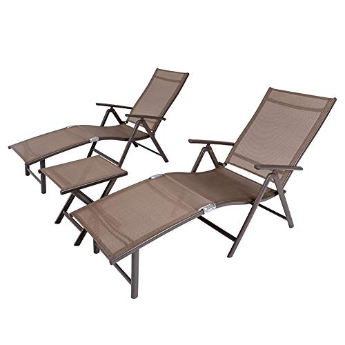 Crestlive Products Aluminum Beach Yard Pool Folding Recliner Adjustable Chaise Lounge Chair and Table Set All Weather for Outdoor Indoor, Brown Frame (Brown & Black) ()