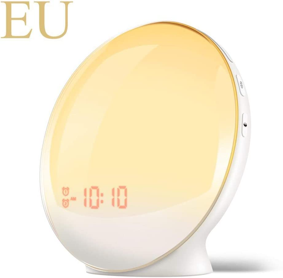 wwwl Despertador Alarm Clock Wake Up Light Digital Snooze Nature Night Lamp Clock Sunrise Colorful Light with Nature Sounds FM Radios EU-Yuan-Clock-White